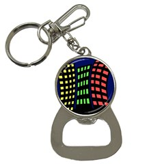 Colorful Abstract City Landscape Bottle Opener Key Chains by Valentinaart