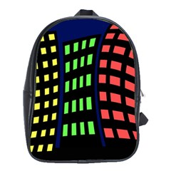 Colorful Abstract City Landscape School Bags (xl)  by Valentinaart