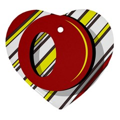 Red And Yellow Design Ornament (heart)  by Valentinaart