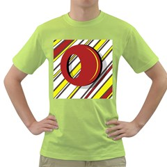 Red And Yellow Design Green T Shirt