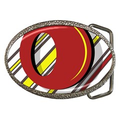 Red And Yellow Design Belt Buckles by Valentinaart