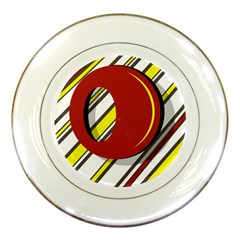 Red And Yellow Design Porcelain Plates by Valentinaart