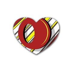 Red And Yellow Design Heart Coaster (4 Pack)  by Valentinaart
