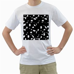 Black And White Pattern Men s T-shirt (white) (two Sided) by Valentinaart
