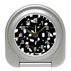 Black And White Pattern Travel Alarm Clocks by Valentinaart
