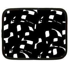 Black And White Pattern Netbook Case (large) by Valentinaart