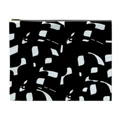 Black And White Pattern Cosmetic Bag (xl) by Valentinaart