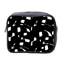 Black And White Pattern Mini Toiletries Bag 2 Side by Valentinaart