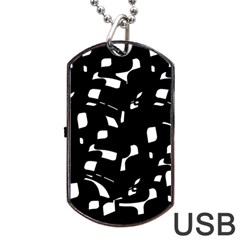Black And White Pattern Dog Tag Usb Flash (one Side) by Valentinaart