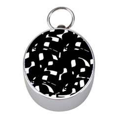Black And White Pattern Mini Silver Compasses by Valentinaart