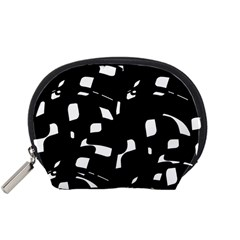 Black And White Pattern Accessory Pouches (small)  by Valentinaart