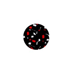 Red, Black And White Pattern 1  Mini Buttons by Valentinaart