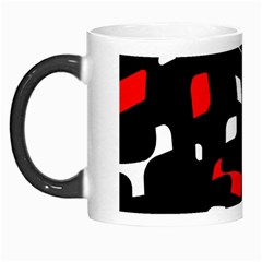 Red, Black And White Pattern Morph Mugs by Valentinaart