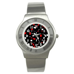 Red, Black And White Pattern Stainless Steel Watch by Valentinaart