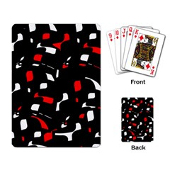 Red, Black And White Pattern Playing Card by Valentinaart