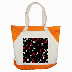 Red, Black And White Pattern Accent Tote Bag by Valentinaart