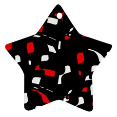 Red, Black And White Pattern Star Ornament (two Sides)  by Valentinaart