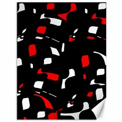 Red, Black And White Pattern Canvas 36  X 48   by Valentinaart