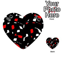 Red, Black And White Pattern Playing Cards 54 (heart)  by Valentinaart