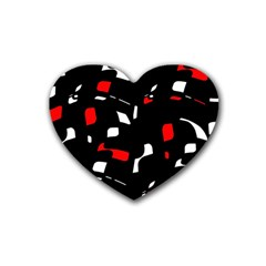 Red, Black And White Pattern Rubber Coaster (heart)  by Valentinaart