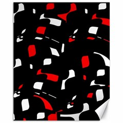 Red, Black And White Pattern Canvas 11  X 14   by Valentinaart