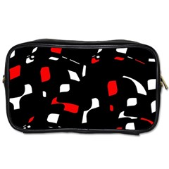 Red, Black And White Pattern Toiletries Bags by Valentinaart