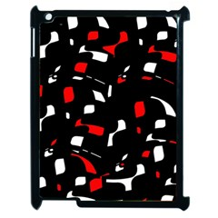 Red, Black And White Pattern Apple Ipad 2 Case (black) by Valentinaart