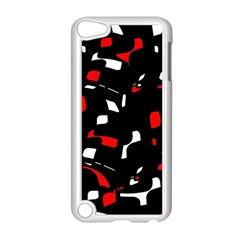 Red, Black And White Pattern Apple Ipod Touch 5 Case (white) by Valentinaart