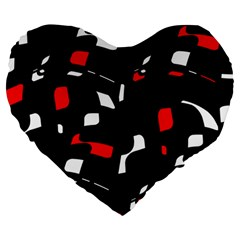 Red, Black And White Pattern Large 19  Premium Heart Shape Cushions by Valentinaart