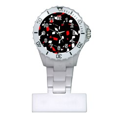 Red, Black And White Pattern Plastic Nurses Watch by Valentinaart