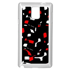 Red, Black And White Pattern Samsung Galaxy Note 4 Case (white) by Valentinaart
