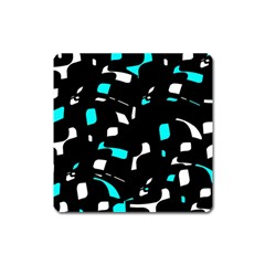 Blue, Black And White Pattern Square Magnet by Valentinaart