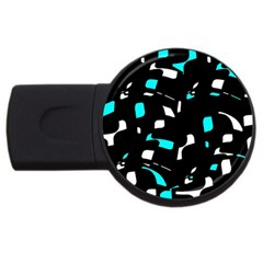 Blue, Black And White Pattern Usb Flash Drive Round (2 Gb)  by Valentinaart