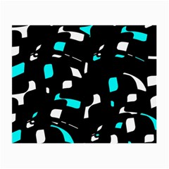 Blue, Black And White Pattern Small Glasses Cloth (2-side) by Valentinaart
