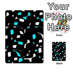 Blue, Black And White Pattern Multi Purpose Cards (rectangle)  by Valentinaart