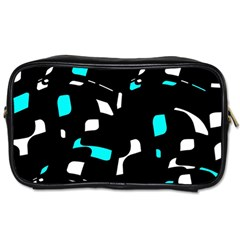 Blue, Black And White Pattern Toiletries Bags 2 Side by Valentinaart