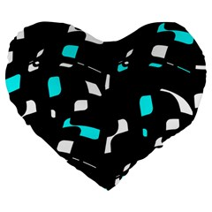 Blue, Black And White Pattern Large 19  Premium Heart Shape Cushions by Valentinaart