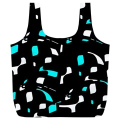 Blue, Black And White Pattern Full Print Recycle Bags (l)  by Valentinaart