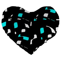 Blue, Black And White Pattern Large 19  Premium Flano Heart Shape Cushions by Valentinaart
