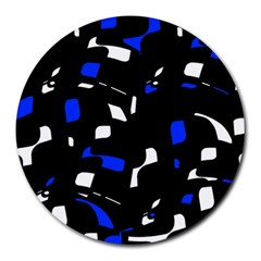 Blue, Black And White  Pattern Round Mousepads by Valentinaart