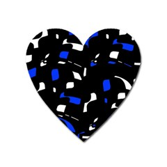 Blue, Black And White  Pattern Heart Magnet by Valentinaart