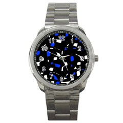 Blue, Black And White  Pattern Sport Metal Watch by Valentinaart