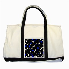 Blue, Black And White  Pattern Two Tone Tote Bag by Valentinaart