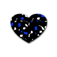 Blue, Black And White  Pattern Heart Coaster (4 Pack)  by Valentinaart