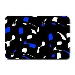 Blue, Black And White  Pattern Plate Mats by Valentinaart