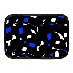 Blue, Black And White  Pattern Netbook Case (medium)  by Valentinaart