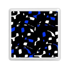 Blue, Black And White  Pattern Memory Card Reader (square)  by Valentinaart