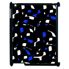 Blue, Black And White  Pattern Apple Ipad 2 Case (black) by Valentinaart