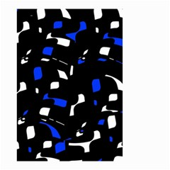 Blue, Black And White  Pattern Small Garden Flag (two Sides) by Valentinaart