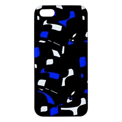 Blue, Black And White  Pattern Apple Iphone 5 Premium Hardshell Case by Valentinaart